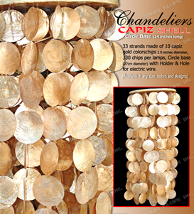 Circle wooden base hanging chandelier in round gold capiz chips with holder and hole for electric wire.